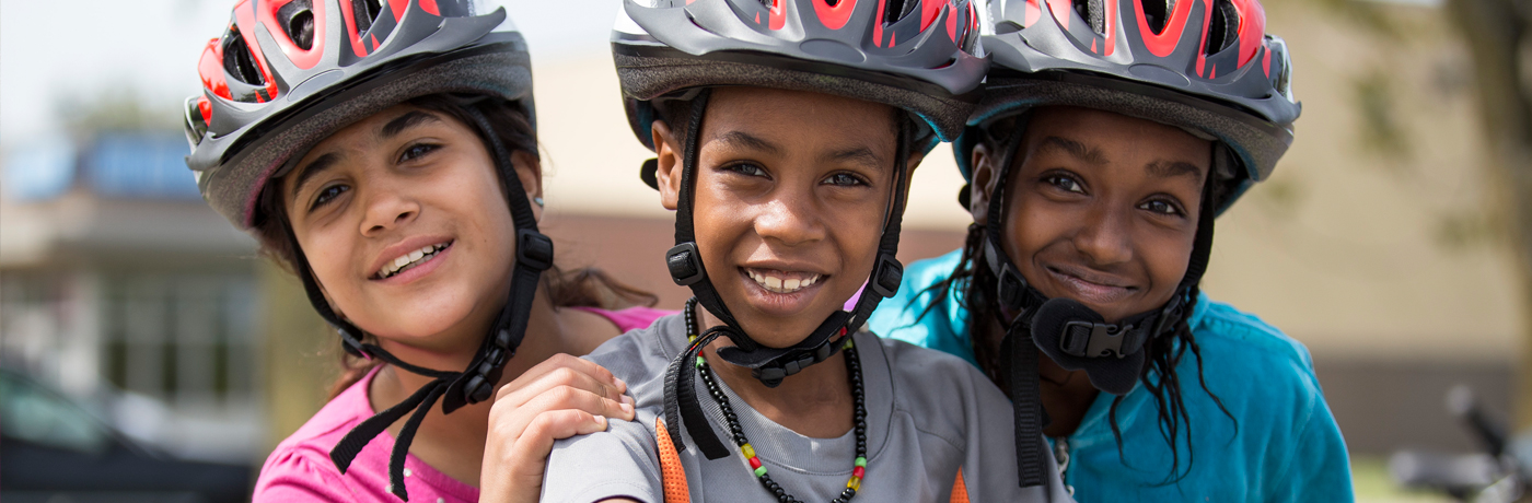 Carver Elementary School Students With New Bike Helmets